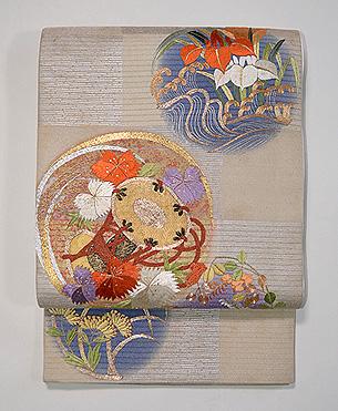 花丸紋様紗の袋帯