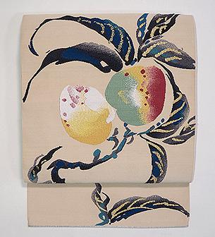 桃柄の綴れ名古屋帯