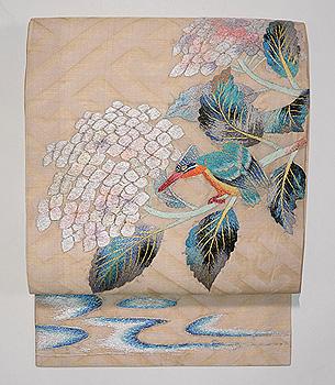 紫陽花にカワセミの刺繍名古屋帯