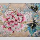 紫陽花にカワセミの刺繍名古屋帯 前中心