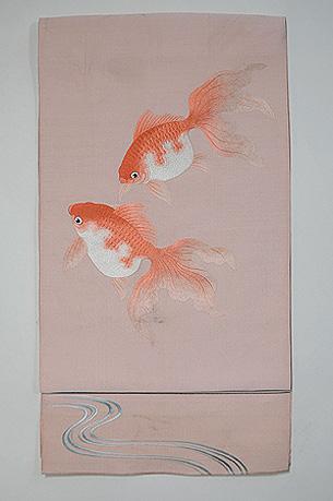 金魚の刺繍綴れ名古屋帯