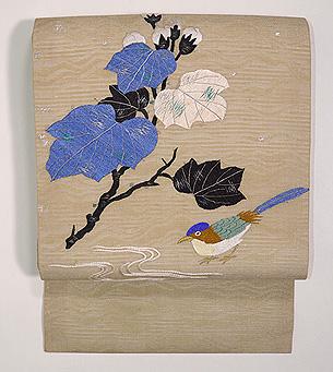 秋花に尾長鳥の図名古屋帯