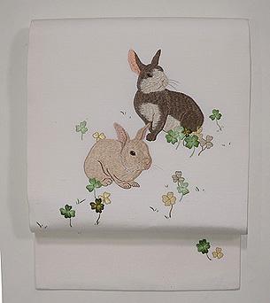 ウサギとクローバー名古屋帯