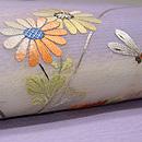 野菊にトンボ刺繍名古屋帯 質感・風合