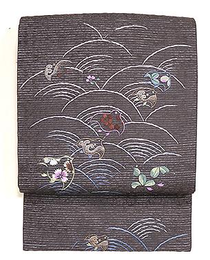青海波に群れ千鳥刺繍名古屋帯