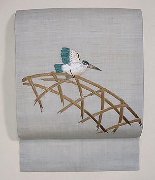 カワセミの刺繍名古屋帯