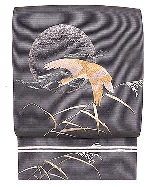 月に雁刺繍名古屋帯