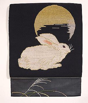 羅織にうさぎの刺繍名古屋帯