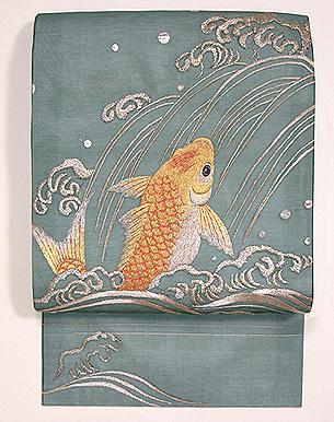 鯉の滝登り図刺繍名古屋帯