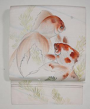 金魚の染め名古屋帯