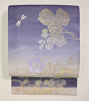 波紋に桔梗の刺繍名古屋帯