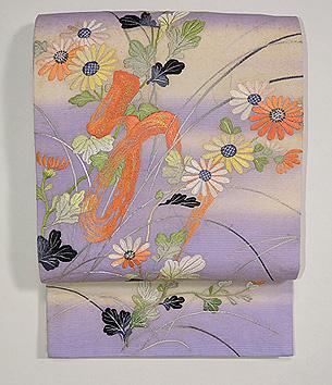 紫暈しに文字入り野菊の袋帯