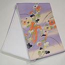 紫暈しに文字入り野菊の袋帯 帯裏