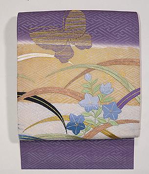 秋草に蝶の図刺繍名古屋帯