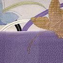 秋草に蝶の図刺繍名古屋帯 前中心