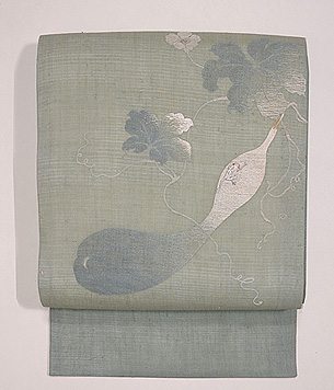 麻地瓢箪の刺繍名古屋帯