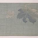 麻地瓢箪の刺繍名古屋帯 前中心