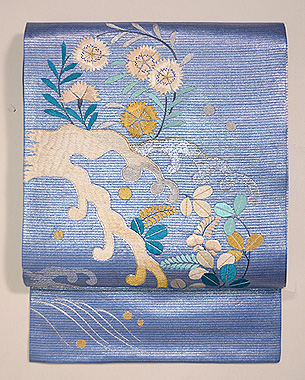波頭に花丸紋刺繍名古屋帯