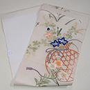 白地花籠の刺繍名古屋帯 帯裏