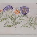 白地花籠の刺繍名古屋帯 前中心