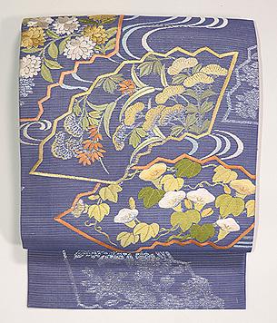 扇面に野の花刺繍名古屋帯