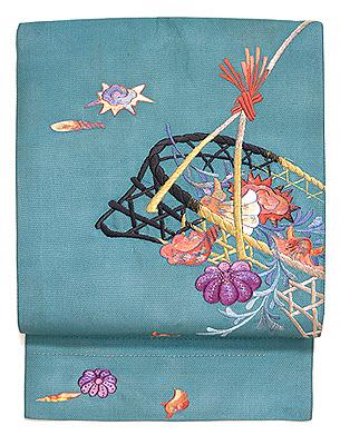 青緑地籠に貝の刺繍帯