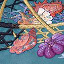 青緑地籠に貝の刺繍帯 質感・風合