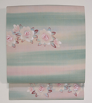 バラとチューリップの染め刺繍帯