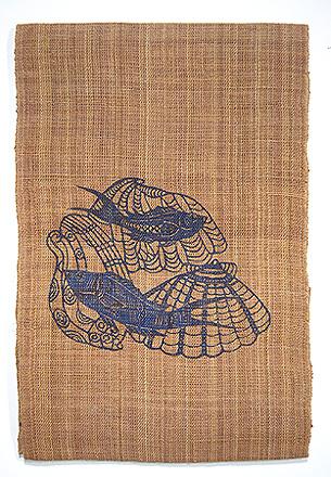 しな布に藍型染めの名古屋帯