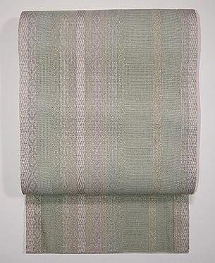 柳茶の縞袋帯
