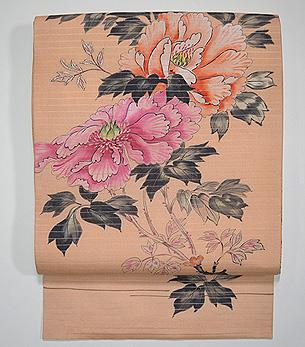 杏色牡丹の染め名古屋帯
