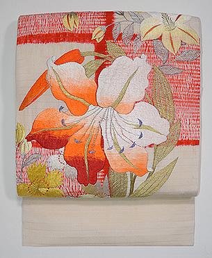 大輪百合の刺繍名古屋帯
