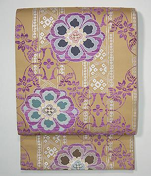 青山みとも製 花鳥に華紋貝紫の袋帯