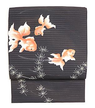 黒地金魚の名古屋帯