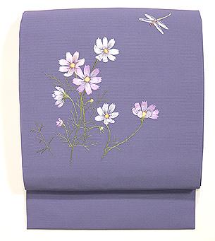 コスモスにトンボの刺繍名古屋帯