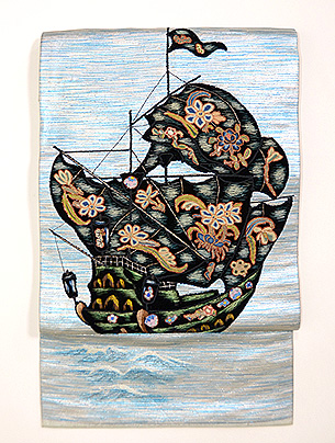 南蛮船アップリケの夏名古屋帯