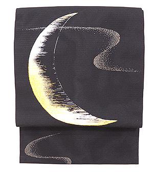 三日月の刺繍名古屋帯