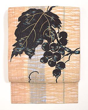 ぶどうの刺繍夏帯