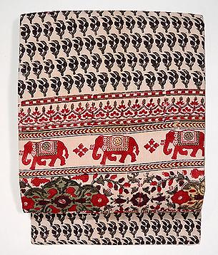 象と小花のインド更紗名古屋帯