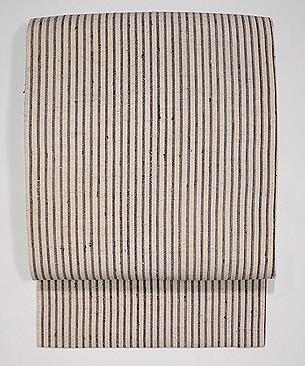 白地に縞木綿の名古屋帯