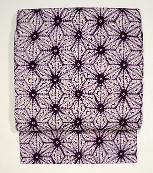 紫根染め麻の葉模様名古屋帯