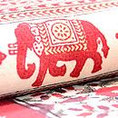 象と小花のインド更紗名古屋帯 質感・風合