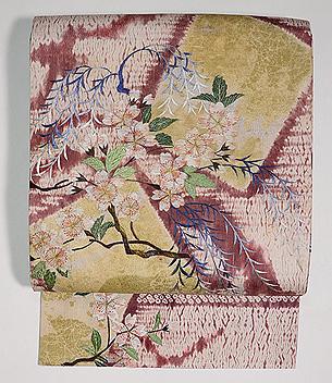 垂れ柳に桜の刺繍名古屋帯