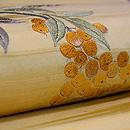 南天と水仙、梅の刺繍名古屋帯 質感・風合