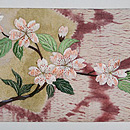 垂れ柳に桜の刺繍名古屋帯 前中心