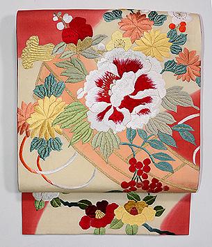 南天、牡丹、椿の刺繍開き名古屋帯