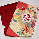 南天、牡丹、椿の刺繍開き名古屋帯 帯裏