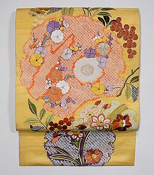 南天と水仙、梅の刺繍開き名古屋帯