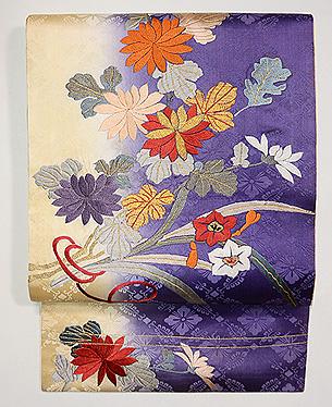 水仙と菊の刺繍名古屋帯