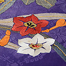 水仙と菊の刺繍名古屋帯 質感・風合